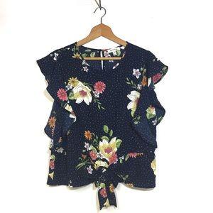 Monteau Polka Dot & Floral Flutter Sleeved Top XL